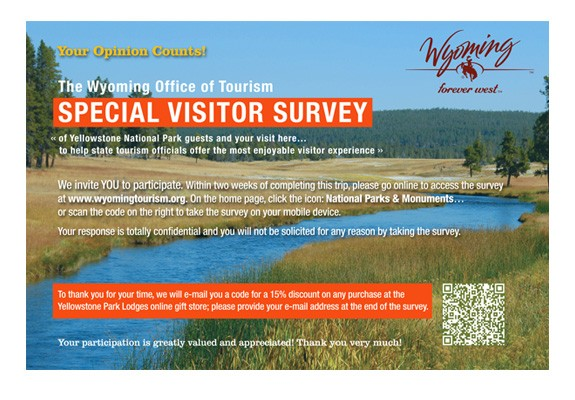 Wyoming Tourism Survey Postcard