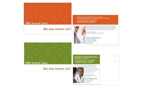 Alzheimer's Assoc. Direct Mail postcards