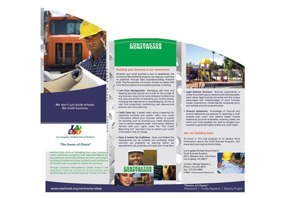 LAUSD Contractor Moneyworks Brochure