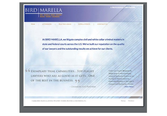 Bird Marella law firm website